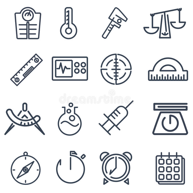 Measurement tools pack. This pack includes 16 measurement tools icons designed in a simple way so it can be use for multiple proposes like logo ,marks ,symbols royalty free illustration