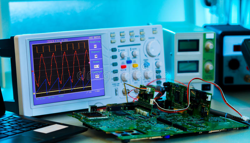 Measurement of a waveform stock image