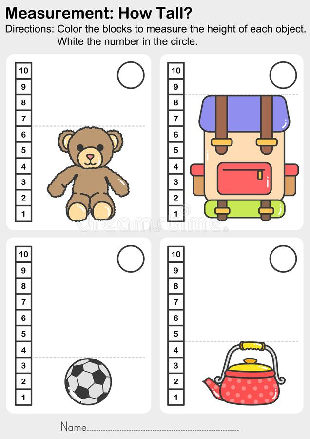 Measurement worksheet - Color the blocks to measure the height of each animal. White the number in the circle. stock illustration