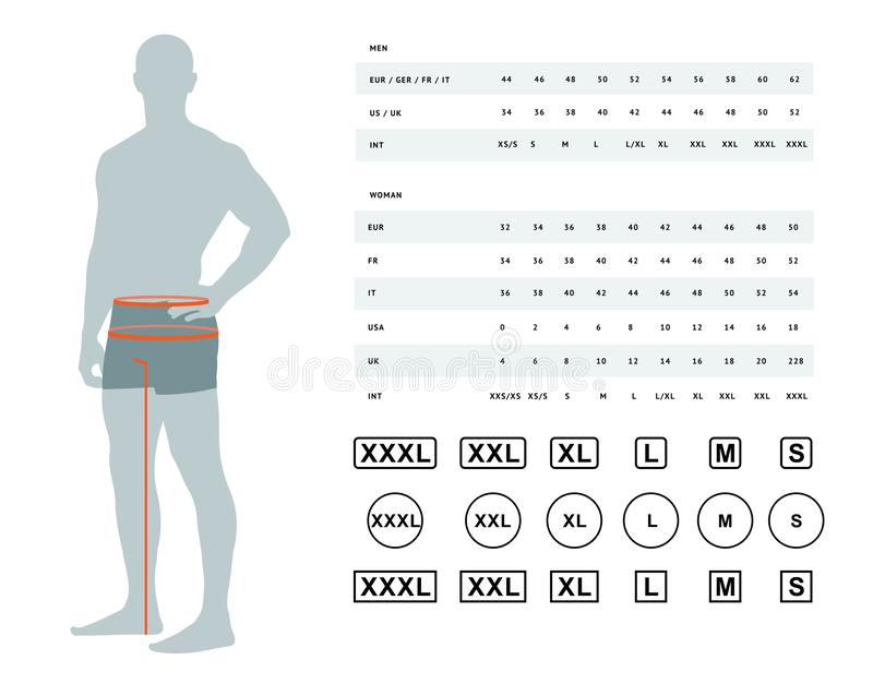 Size chart for men royalty free illustration