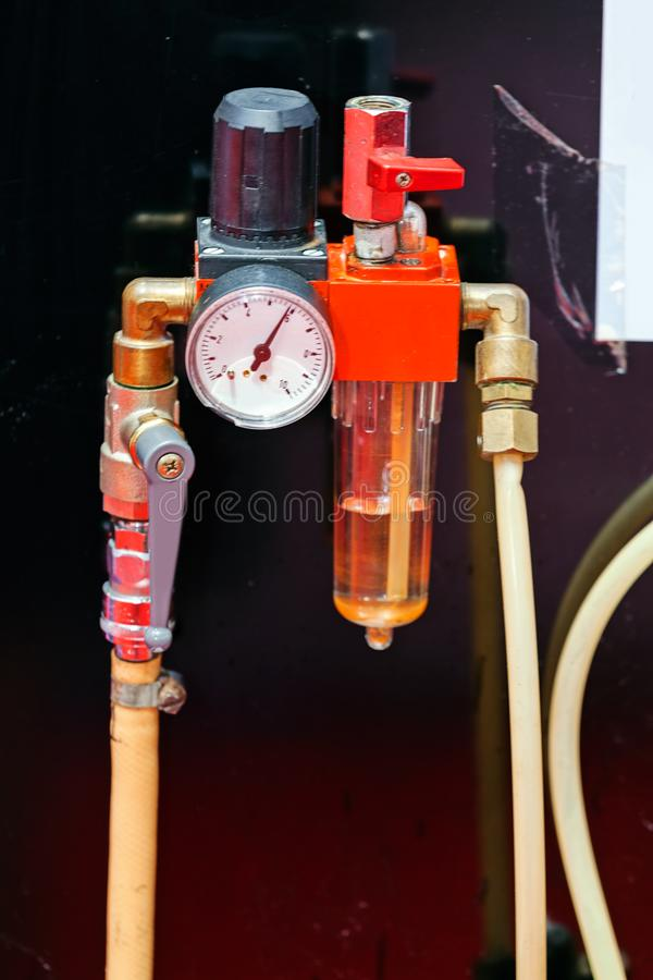 Measuring apparatus device. Focus on measuring apparatus device of engine for industry royalty free stock photo