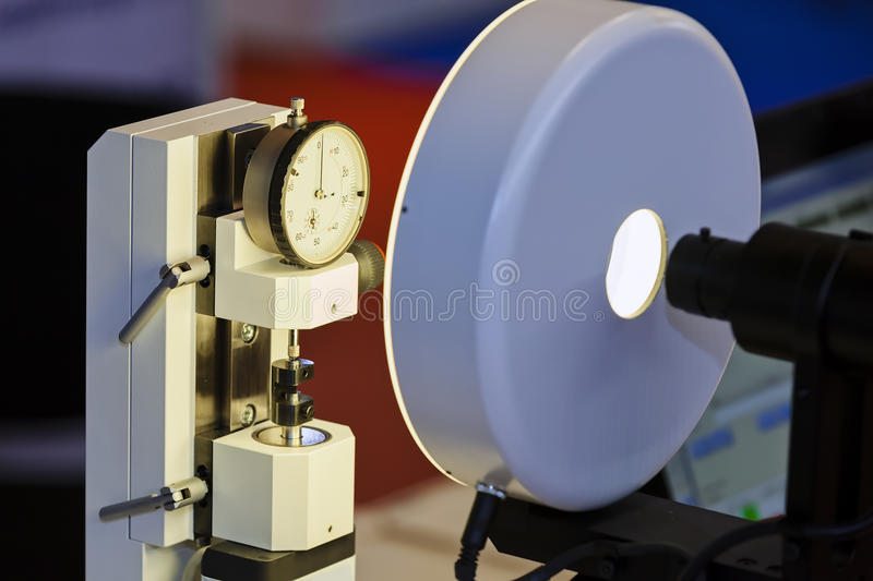 Measuring apparatus device. Focus on measuring apparatus device of engine for industry; note shallow depth of field royalty free stock images
