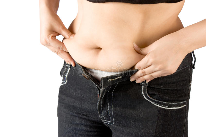 Measuring body fat stock photo