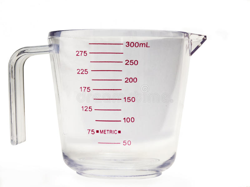 Measuring Cup Empty 2. Measuring Cup Empty with ML measurment stock image