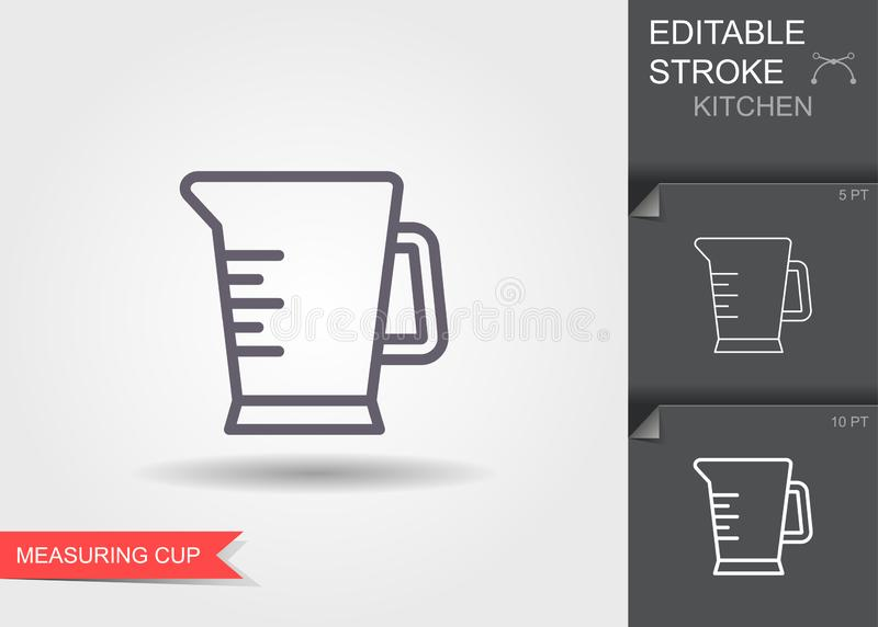 Measuring Cup. Line icon with editable stroke with shadow. Measuring Cup. Outline icon with editable stroke. Linear symbol of the kitchen and cooking with shadow vector illustration