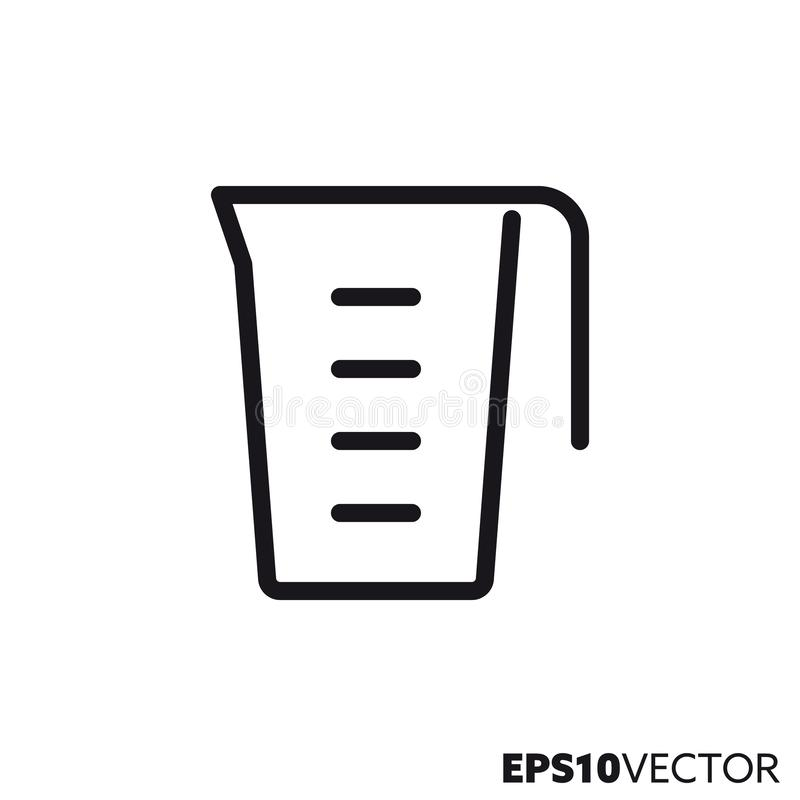 Measuring cup vector line icon stock illustration