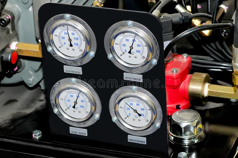 Measuring device with manometers. Measuring device with manometers and connecting pipes stock photo