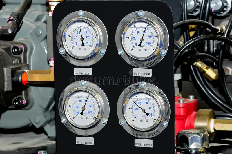 Measuring device with manometers. Measuring device with manometers and connecting pipes stock images