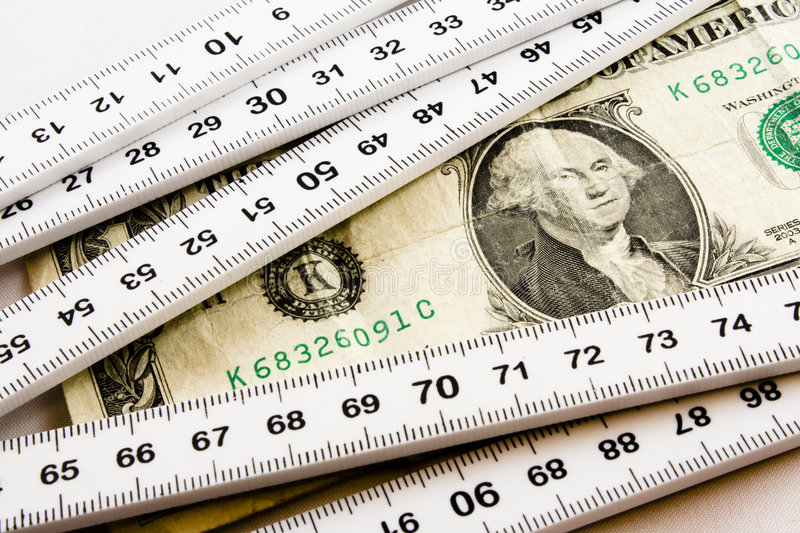 Measuring the dollar. Where will the dollar go next stock image