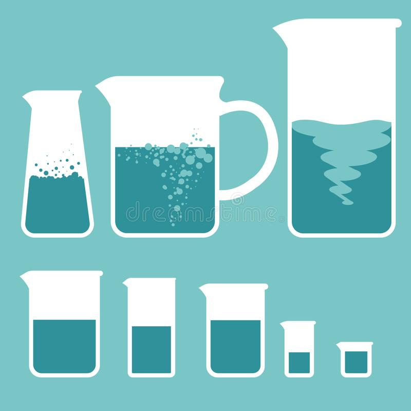 measuring glass of different sizes, and glasses with a handle stock illustration