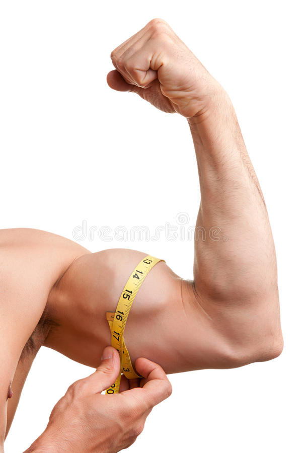 Measuring His Bicep Stock Images
