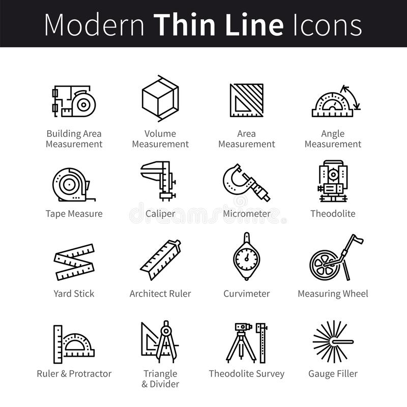 Measuring instrument for engineer, architect, builder, designer, constructor icons set royalty free illustration