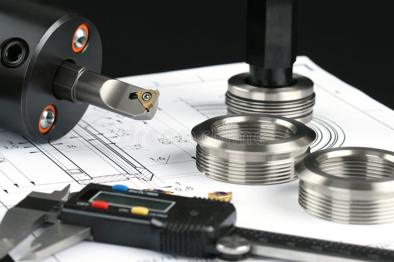 Measuring metal components royalty free stock photos