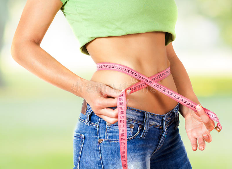 Measuring Perfect Slim Healthy Fitness Waist royalty free stock photo