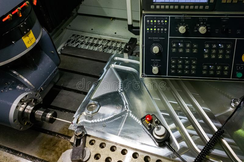 Measuring process with ruby touch probe on large CNC milling machine in jog mode.  stock photography