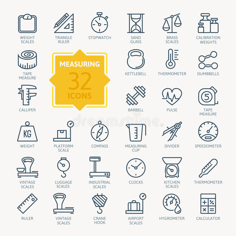 Free Measuring Related Icon Set. Vector Illustration Royalty Free Stock Images - 97779159