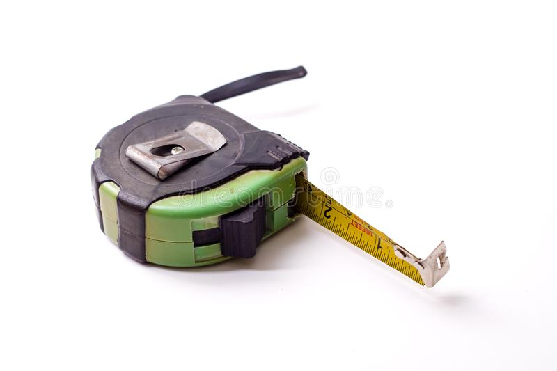 Measuring ruler. A centimeter measuring ruler on white background royalty free stock photography