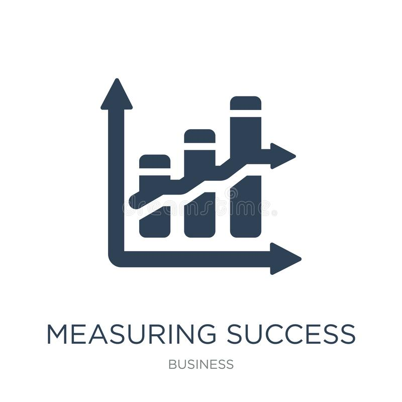 Measuring success icon in trendy design style. measuring success icon isolated on white background. measuring success vector icon. Simple and modern flat symbol royalty free illustration