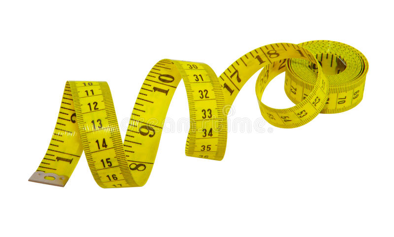 Measuring Tape. Yellow measuring tape for tailor isolated on white royalty free stock photo
