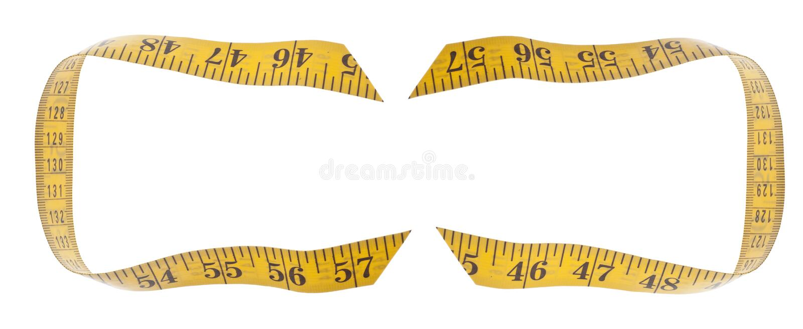 Measuring Tape Diet Concept Border Background. Isolated on White with a Clipping Path royalty free stock image