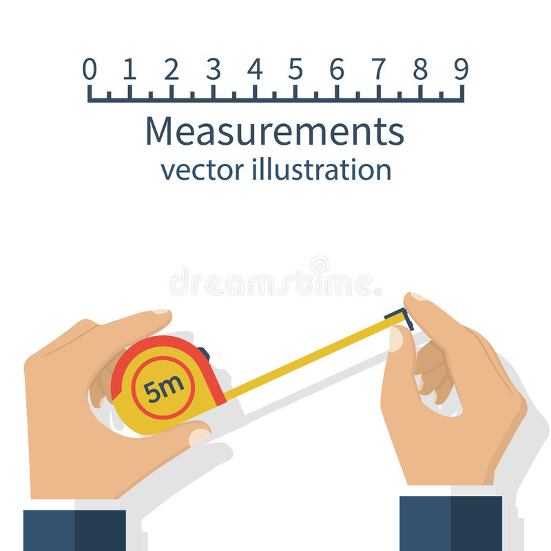 Measuring tape in hand. Measuring tape in the hands of the person making the measurements. Vector illustration flat design isolated on white background stock illustration