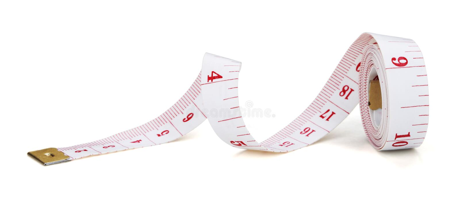 Measuring tape. Isolated on white background stock photo