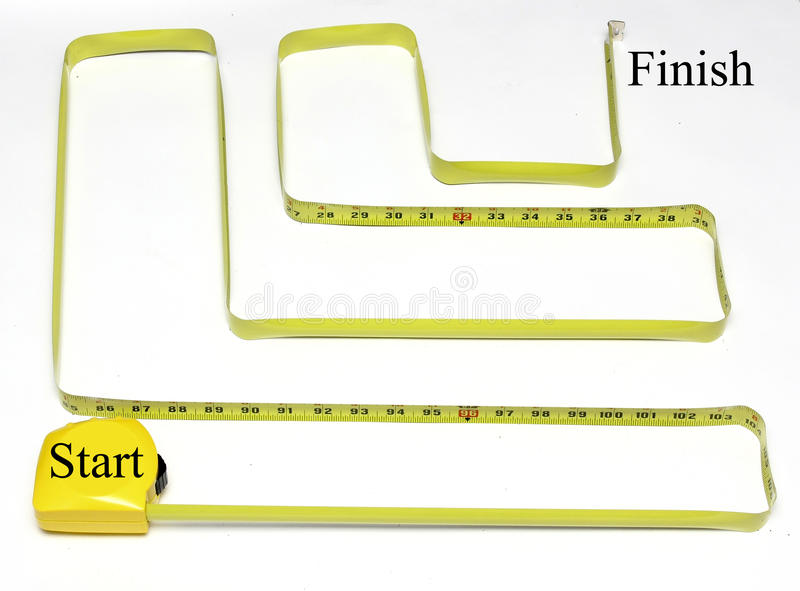 Measuring tape maze start to finish. Measuring tape twisted and turned to make a maze with a start and finish stock photography