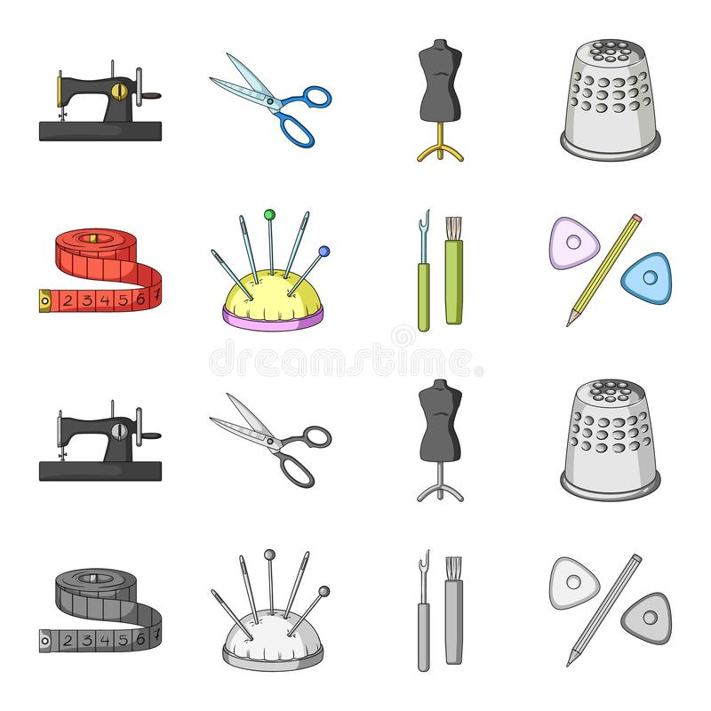 Measuring tape, needles, crayons and pencil.Sewing or tailoring tools set collection icons in cartoon,monochrome style. Vector symbol stock illustration royalty free illustration