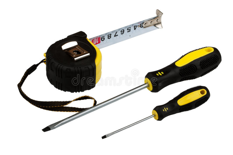 Download Measuring Tape And Two Screw-drivers Stock Photo - Image of yellow, metal: 13125068