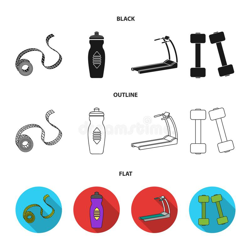 Measuring tape, water bottle, treadmill, dumbbells. Fitnes set collection icons in black,flat,outline style vector. Symbol stock illustration royalty free illustration