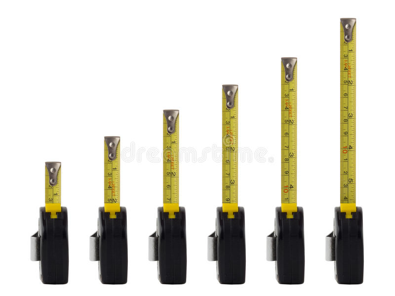 Measuring tapes line. Measuring tapes, isolated on white background, line like in bar chart with tape measures extended from shortest to longest royalty free stock image
