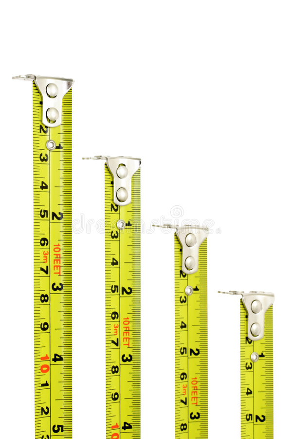 Measuring tapes with magnetic heads royalty free stock photos