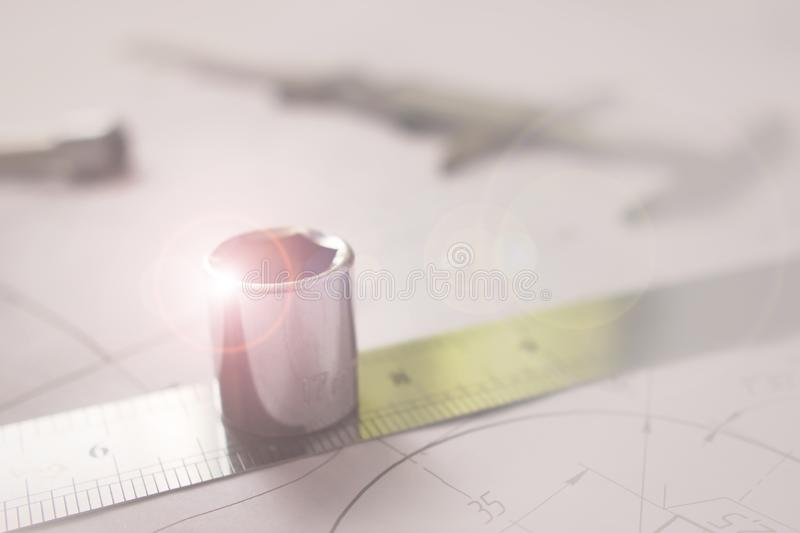 Measuring tools scattered in the drawing, engineering work on the project. Measuring tools scattered stock photos