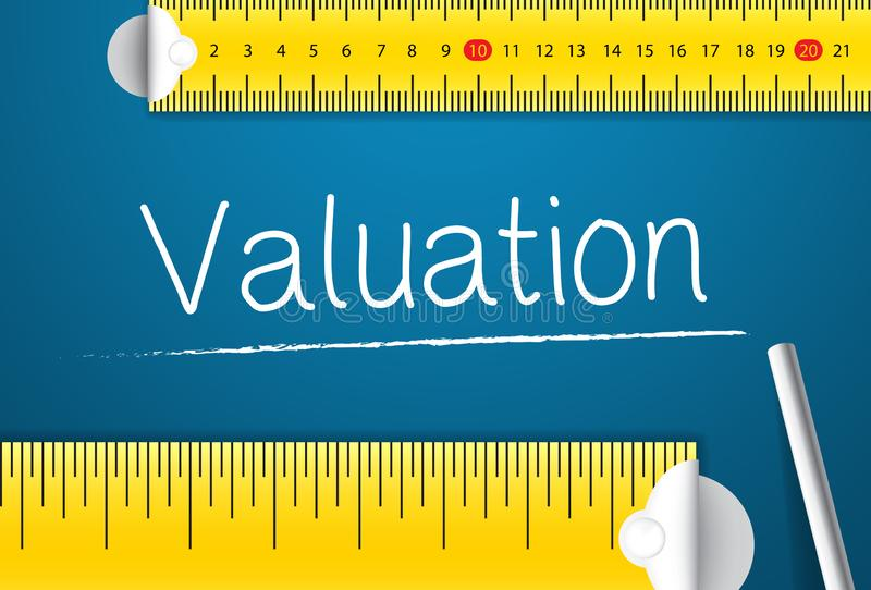 Measuring Valuation. Concept of How To Measure Standards of Valuation. Two Different Measuring Tape with Chalk royalty free illustration