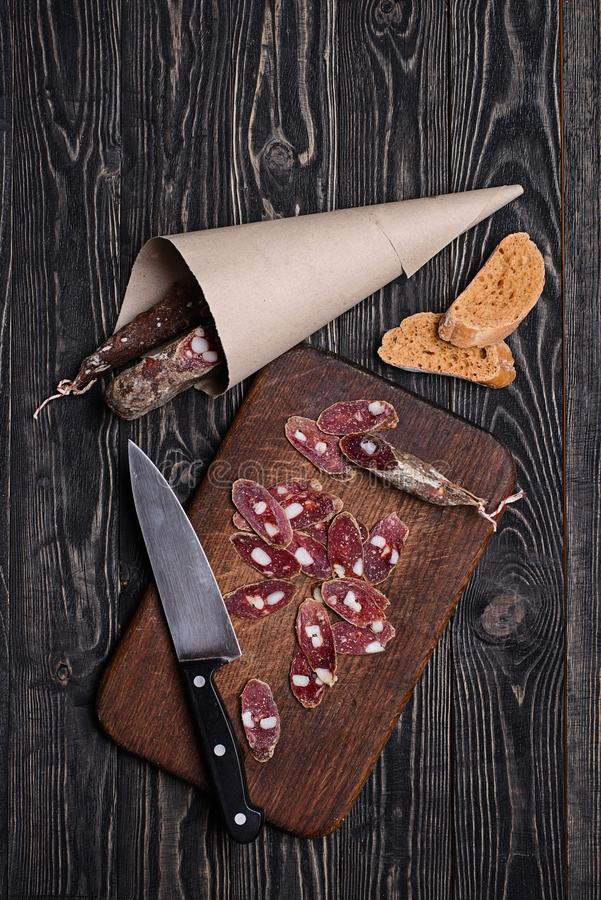 Meat appetizer for beer royalty free stock image