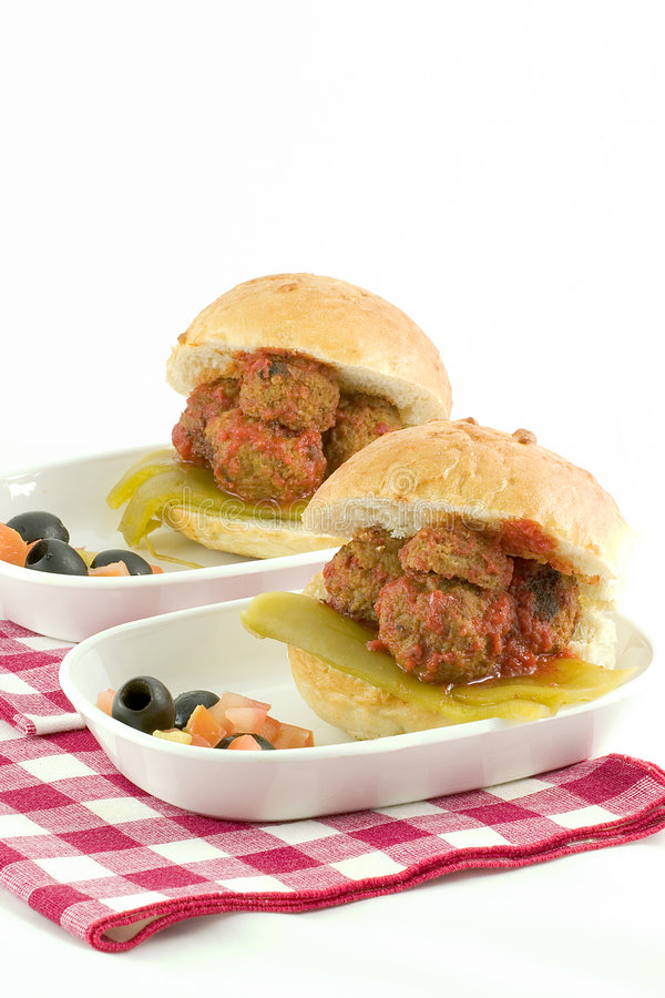 Meat Ball Sandwichs for two royalty free stock image
