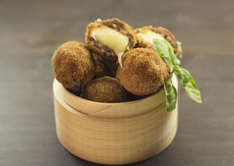Meat balls fried. royalty free stock photo