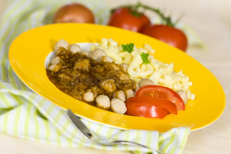 Meat Balls of Poultry with onion sauce,salad stock images