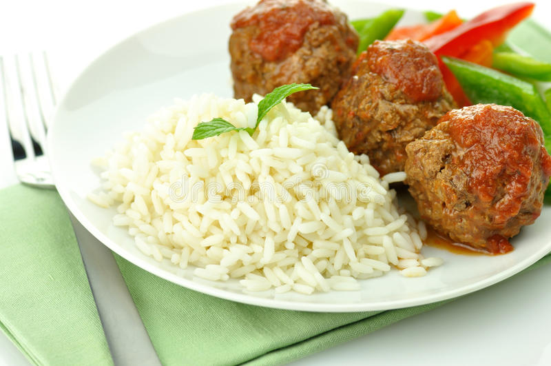 Meat Balls With Rice Royalty Free Stock Photos