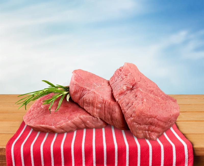 Meat. Beef Steak Raw Freshness Filet Mignon White Background stock photography