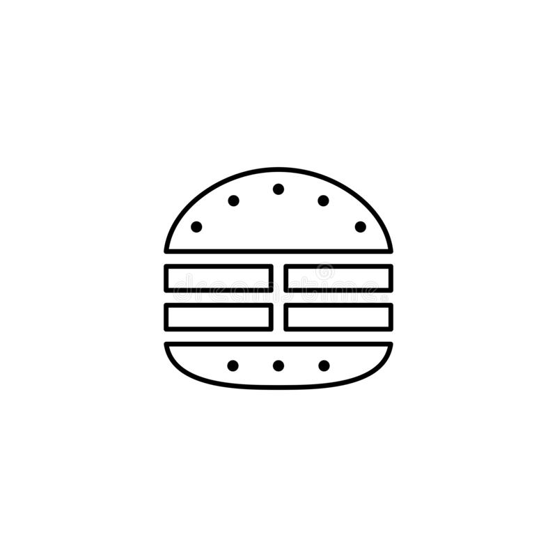 Meat burger outline icon. royalty free illustration