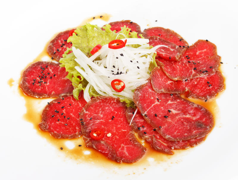 Meat Carpaccio royaltyfri fotografi