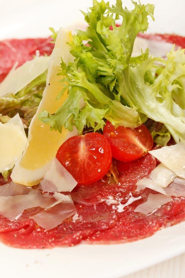 Meat Carpaccio royaltyfria bilder
