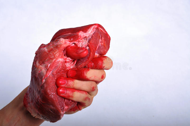 Meat carried in a hand royalty free stock photography