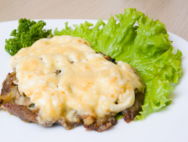 Download Meat with cheese stock photo. Image of sirloin, meat, roasted - 6520740