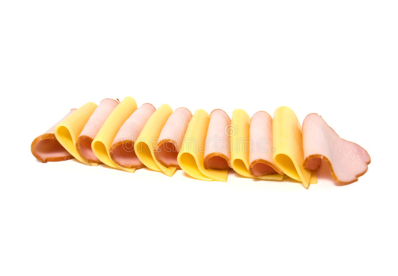 Download Meat And Cheese Slices Isolated On White Stock Photography - Image: 7098832