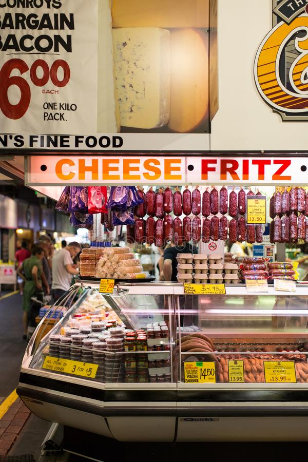Meat and Cheese Stall at Adelaide Market, Australia. A market stall that provide processed meat, delicatessen, and cheese at Adelaide Central Market, South stock photos