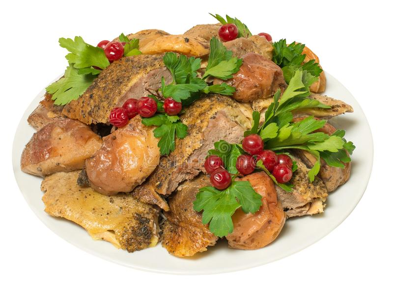 Meat of chicken fried with berries of the viburnum royalty free stock photo