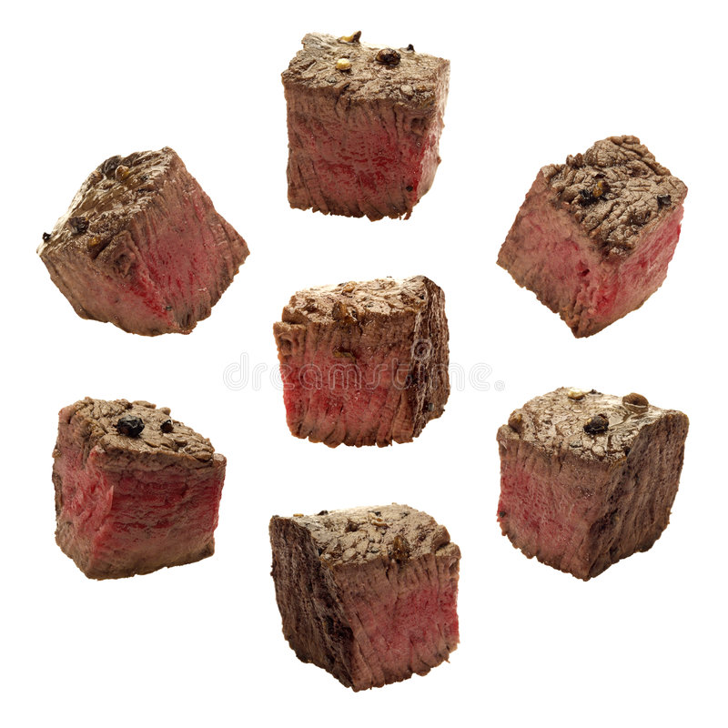 Meat Chuncks. Isolated on a white background. Isolation is on a transparent layer in the PNG format stock photo