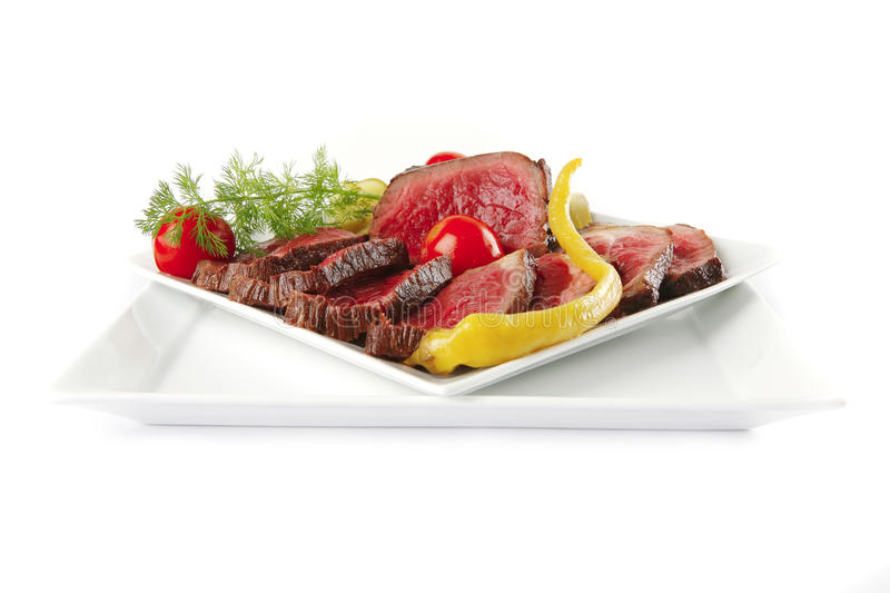 Download Meat Chunk And Slices On Plates Stock Image - Image: 14479267